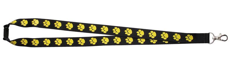 Paw Print Lanyard Black w/Yellow Paw