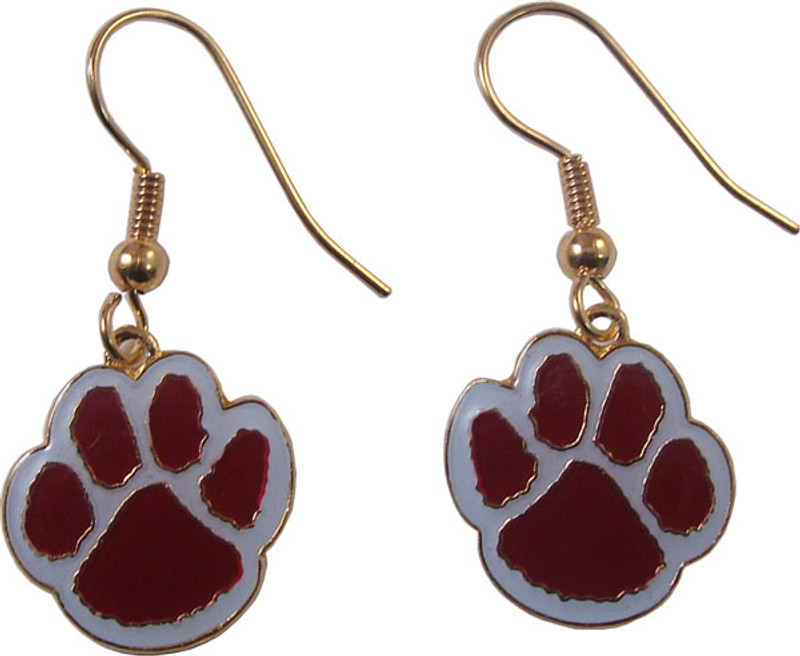 Paw Earrings Maroon/White