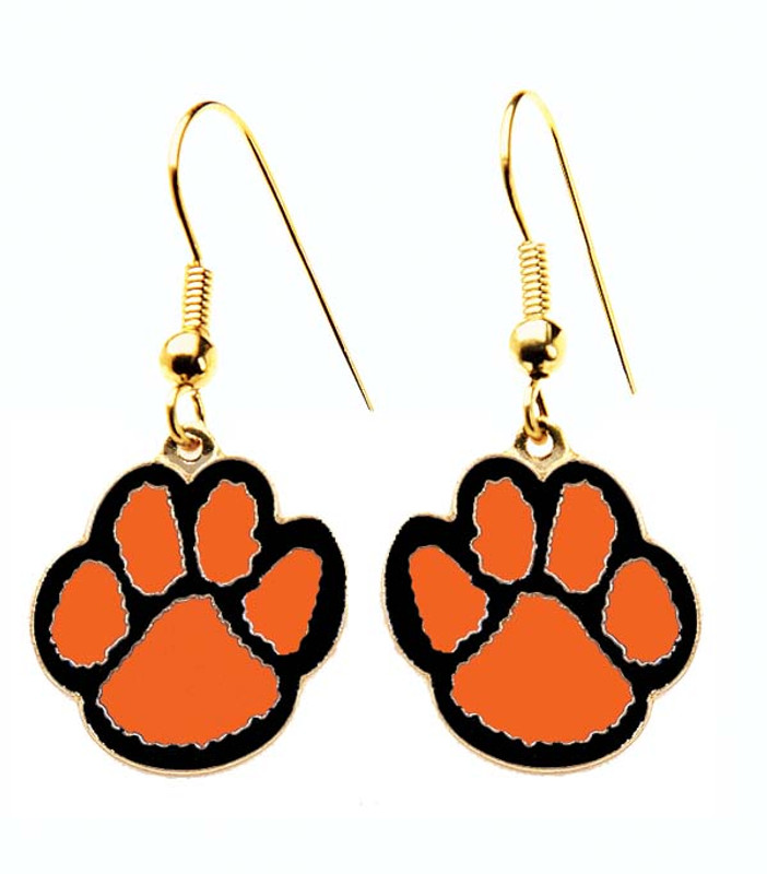 Paw Earrings-Orange/Black