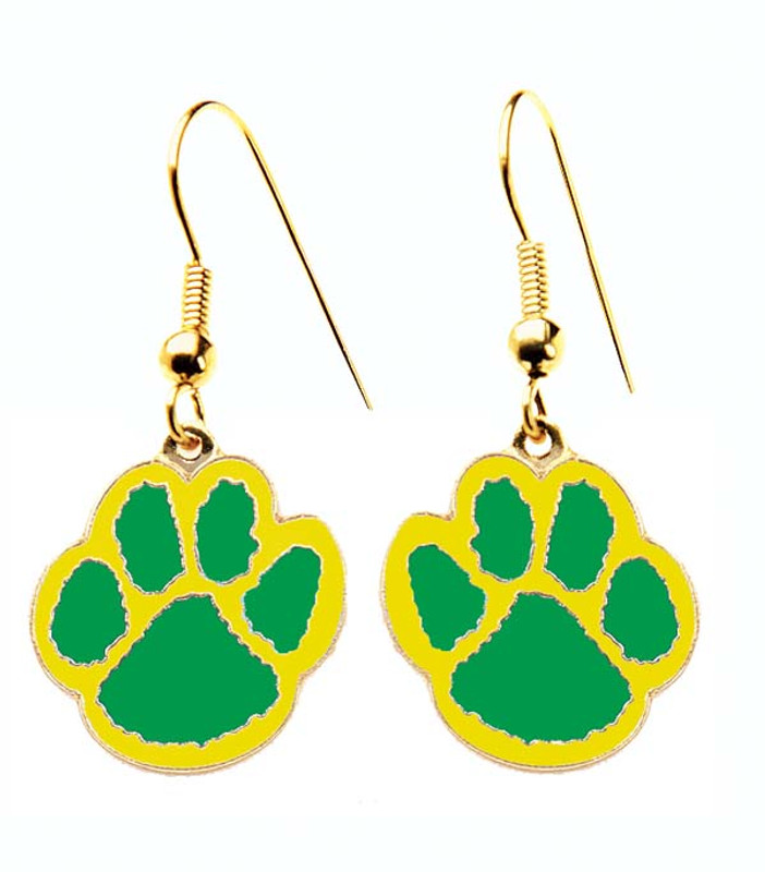 Paw Earrings Green/Yellow