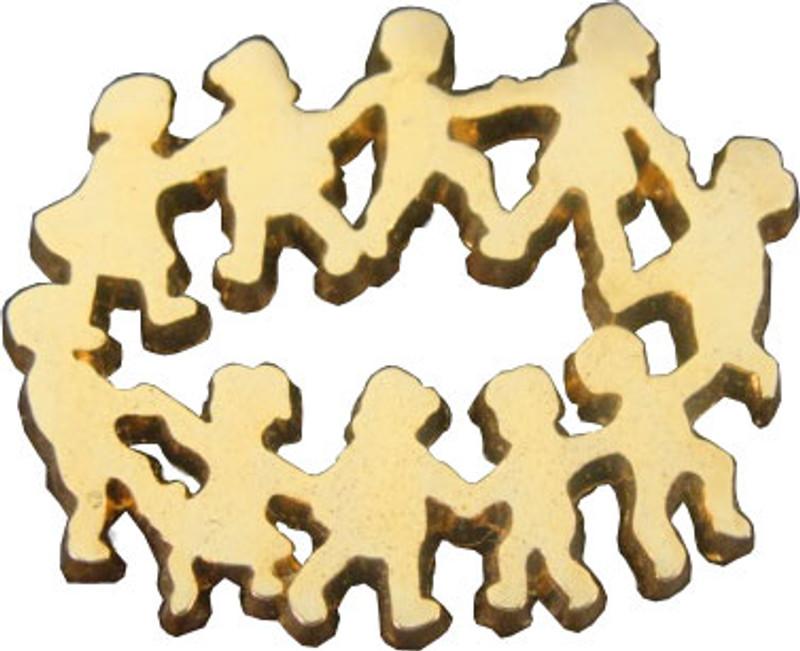 Children in Circle Gold Lapel Pin
