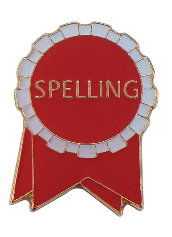 Spelling Ribbon (red/white) Lapel Pin