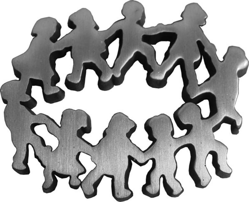 Children in Circle - Antique Silver Lapel Pin