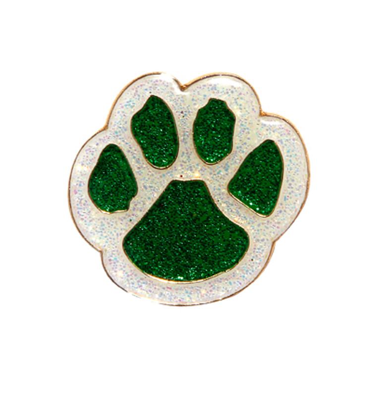 Paw Print - Glitter (green/white) Lapel Pin