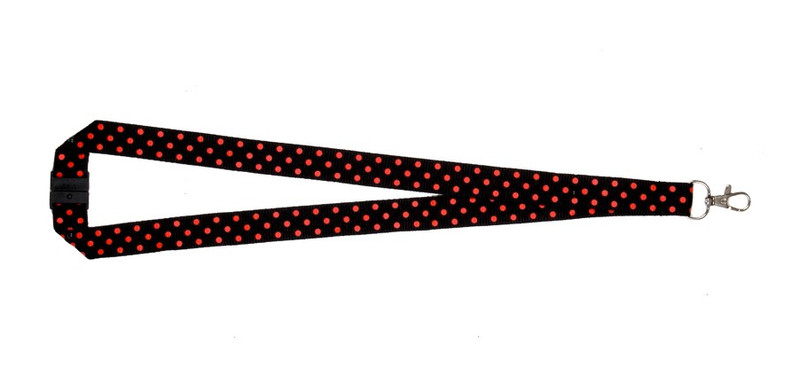 Polka Dot Print Lanyard - Black/Red