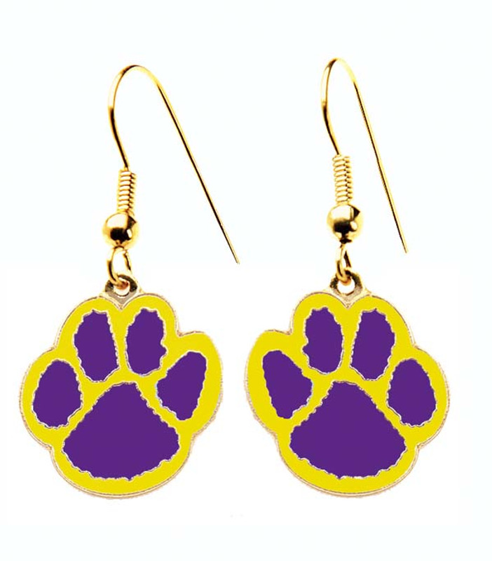 Paw Earrings Purple/Yellow