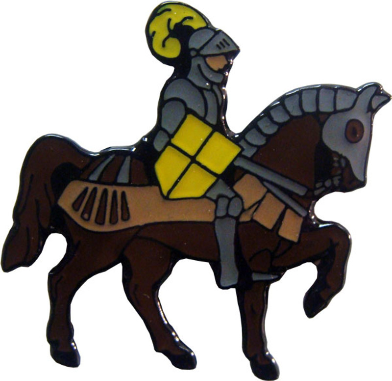 Knight on Horse with Yellow Shield Lapel Pin