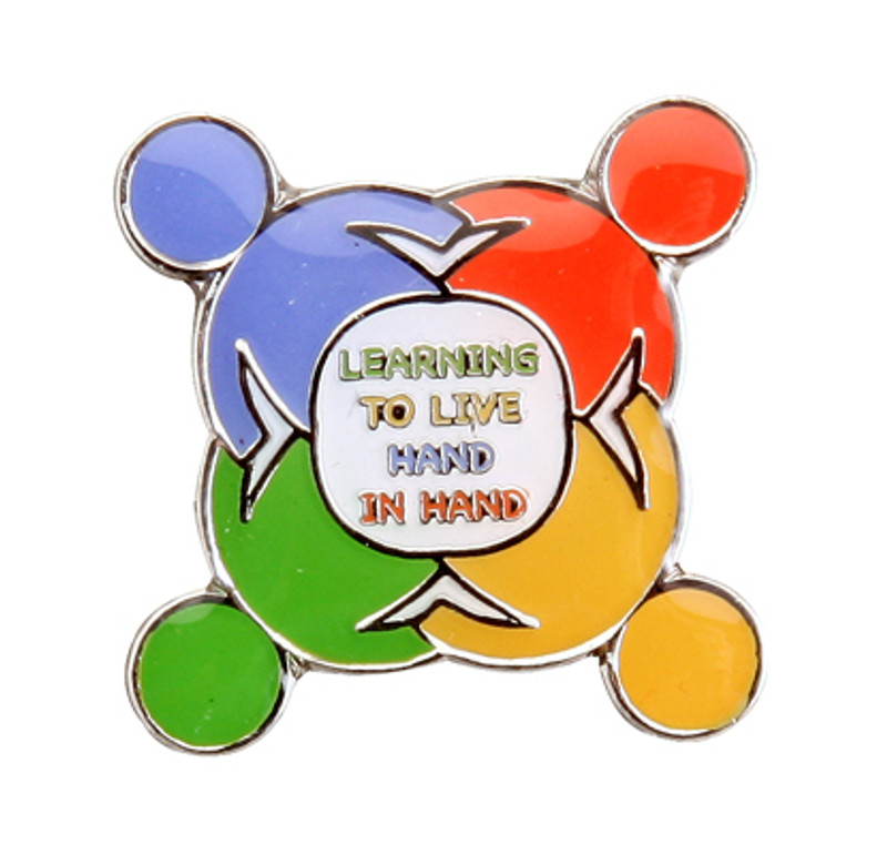 Learning To Live Hand In Hand Lapel Pin