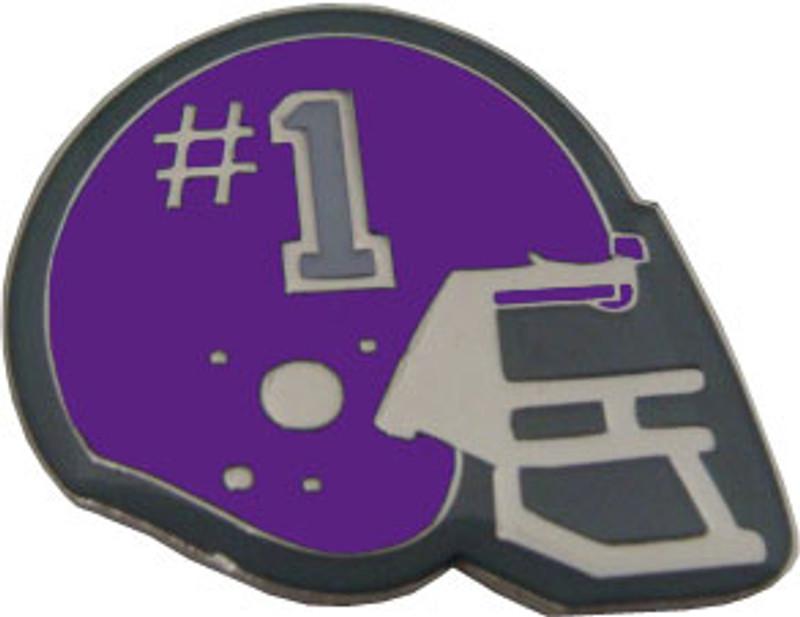 Helmet with #1 (Purple) Lapel Pin