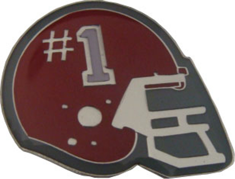 Helmet with #1 (Maroon) Lapel Pin