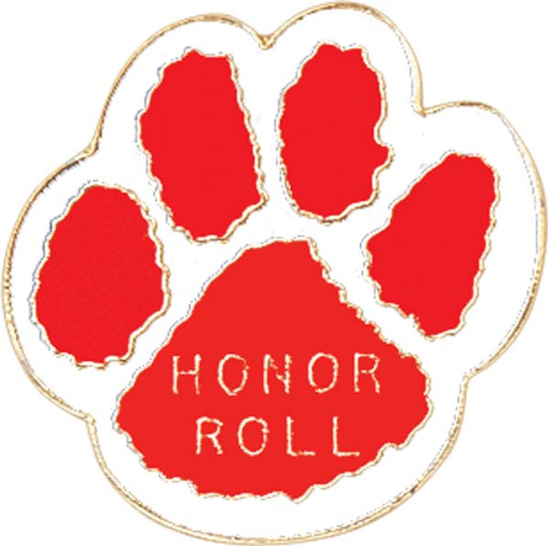 Paw Print - Honor Roll (red/white) Lapel Pin