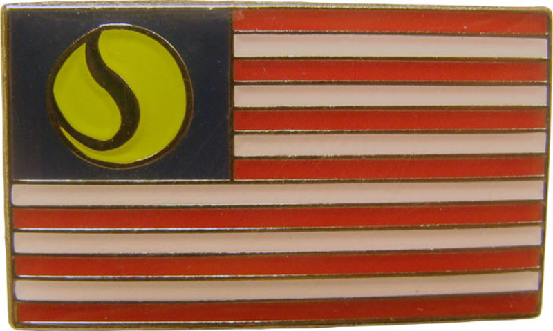 US Flag w/tennis ball in place of stars Lapel Pin