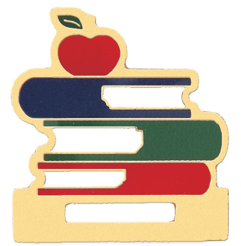 Stacked Books Badge Holder Lapel Pin