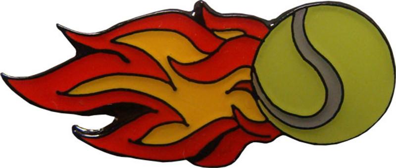 Tennis Ball of Fire Lapel Pin