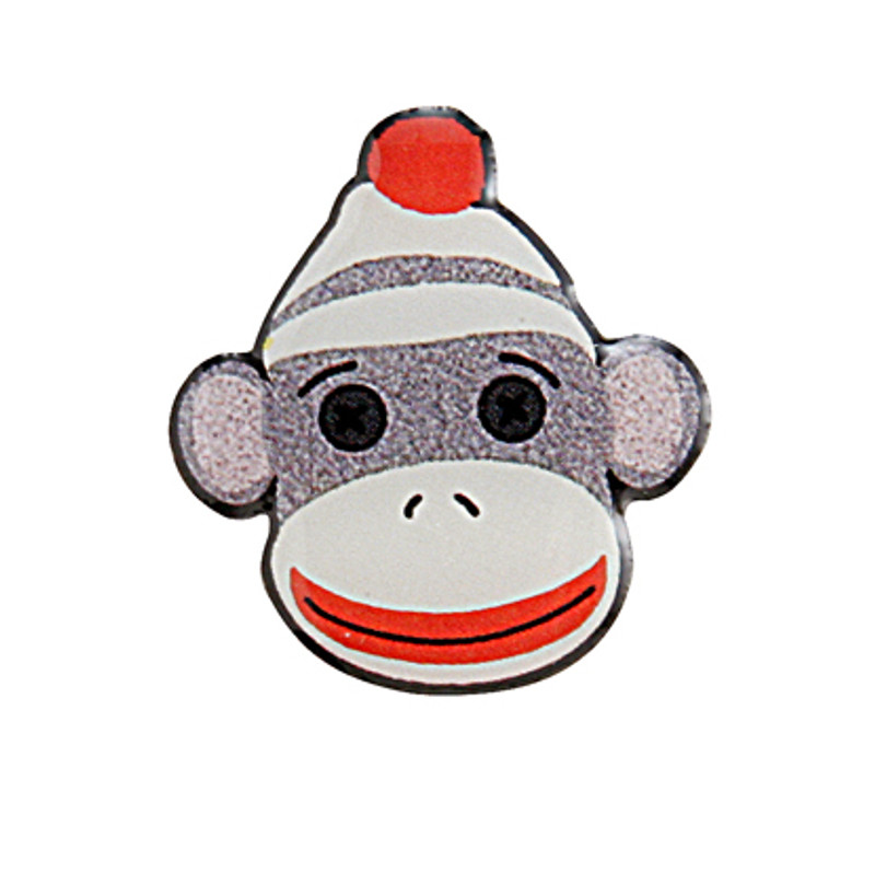 Sock Monkey Head Lapel Pin