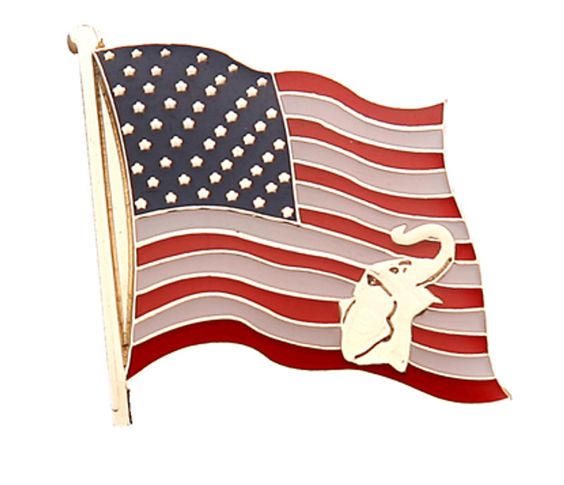 US Flag with gold Elephant Lapel Pin