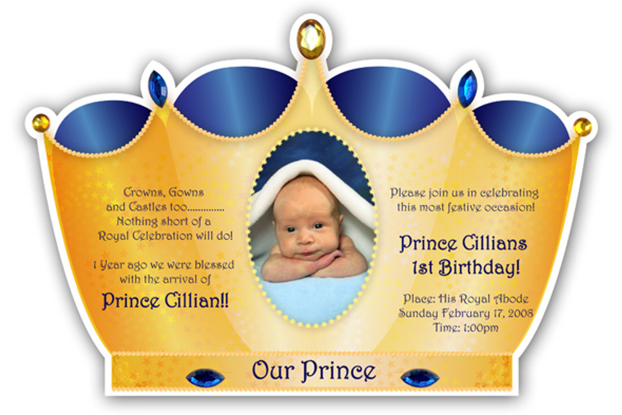 Little Prince Crown Invitation Golden with Royal BLue Prince crown
