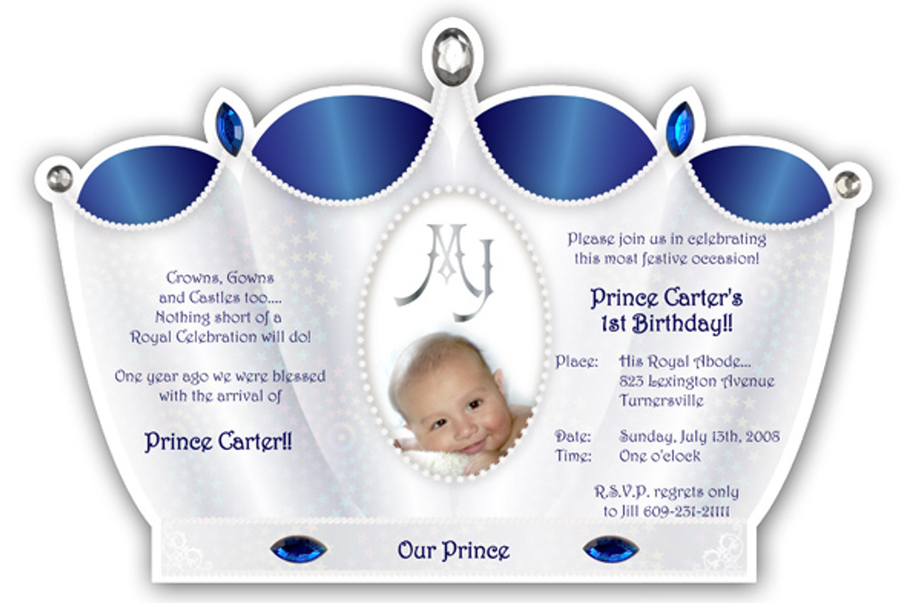 Prince crown invitation silver with royal blue little prince crown invitation silver with royal blue filmwisefo Choice Image