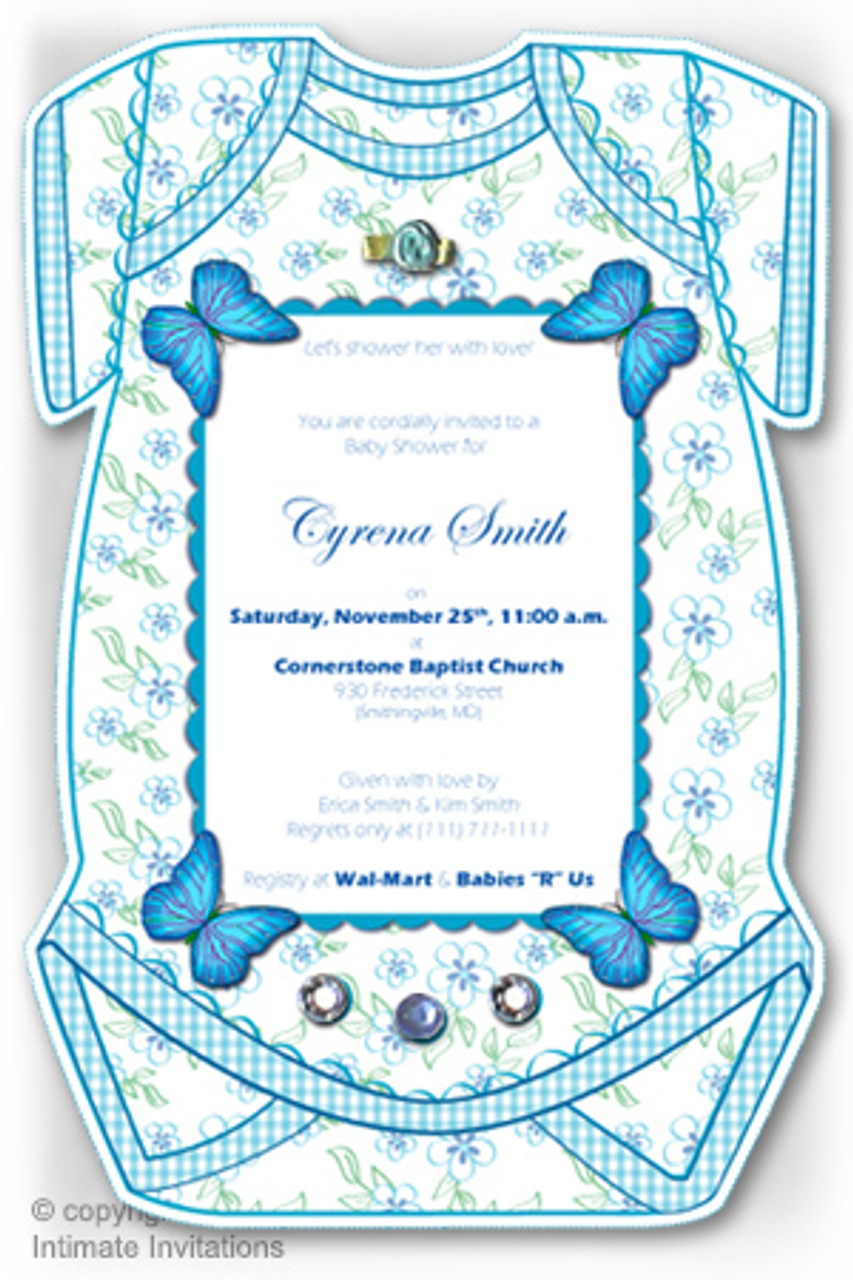 one baby invitation butterflies ribbon rose rhinestones blue