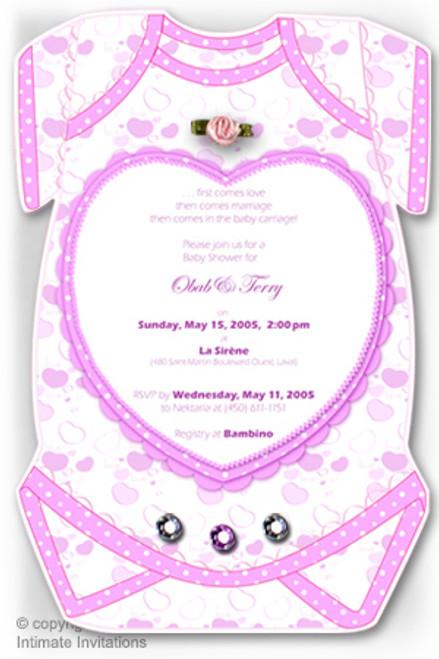 One baby invitation hearts ribbon rose rhinestones pink crafts one baby invitation hearts ribbon rose rhinestones pink filmwisefo