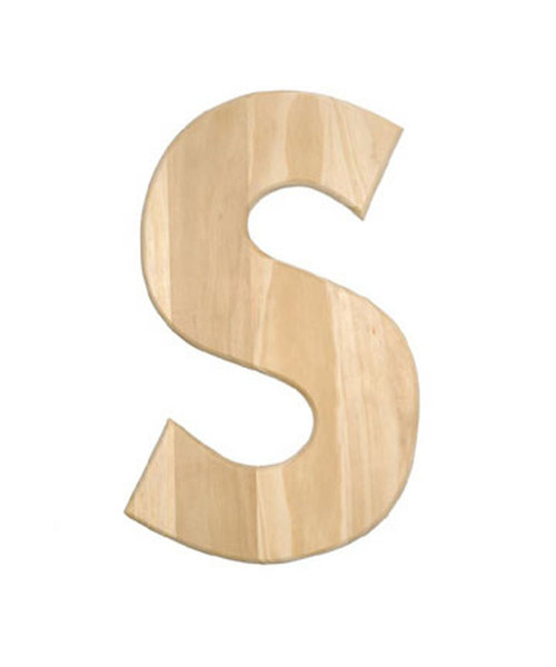 unfinished wood 12 in 2 in thick letter letter s