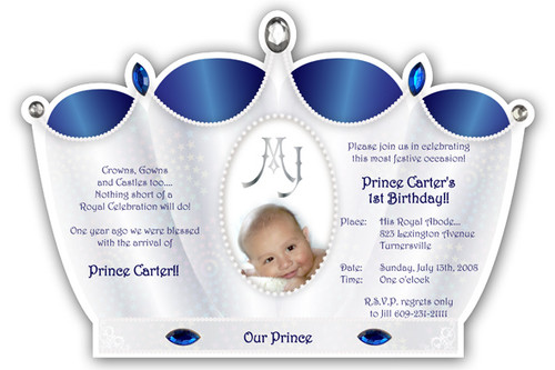 Little princess crown invitation silver with pink princess crown little prince crown invitation silver with royal blue filmwisefo