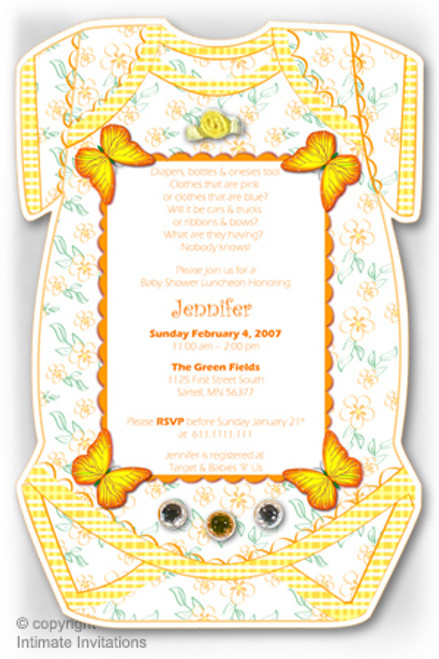 One baby invitation butterflies ribbon rose rhinestones yellow one baby invitation butterflies ribbon rose rhinestones yellow filmwisefo
