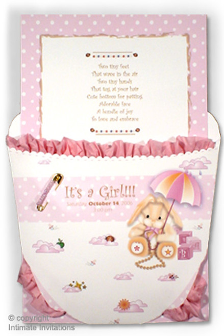 Ruffled Baby Diaper Invitation Pink with Carousel theme