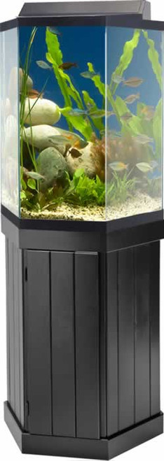 Aqueon 10 Gallon Hexagon Pine Aquarium Stand
