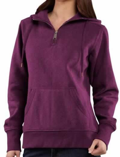 Carhartt Clarksburg Womens 1/4 Zip Magenta Heather Hoodie Sweatshirt