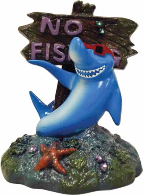 Blue Ribbon Cool Shark No Fishing Sign Aquarium Ornamnet