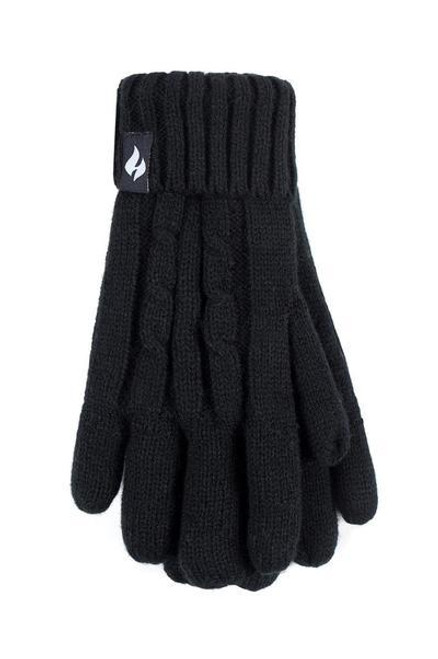 Heat Holders® Cable Knit Gloves with HeatWeaver® Thermal Lining, Black