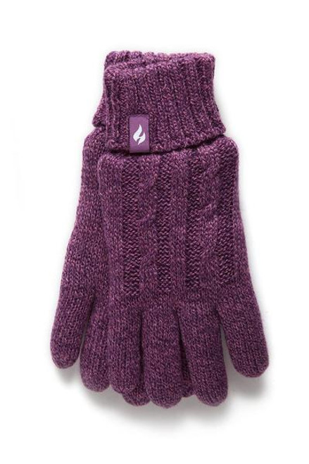Heat Holders® Cable Knit Thermal Lined Gloves Purple
