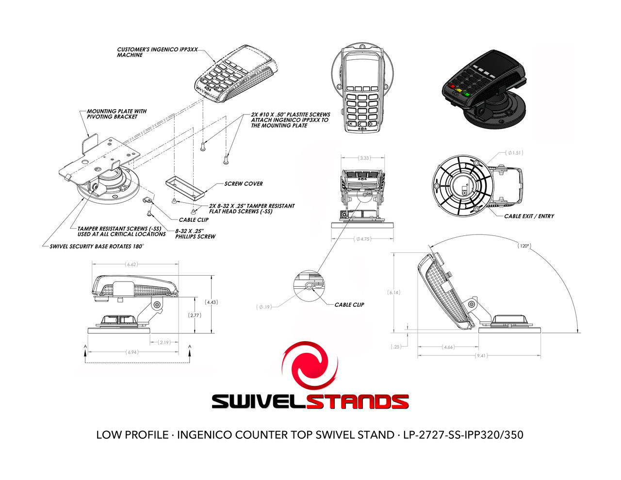 Swivel Stands Credit Card Stand Low Profile Ingenico iPP320 with Security Screws