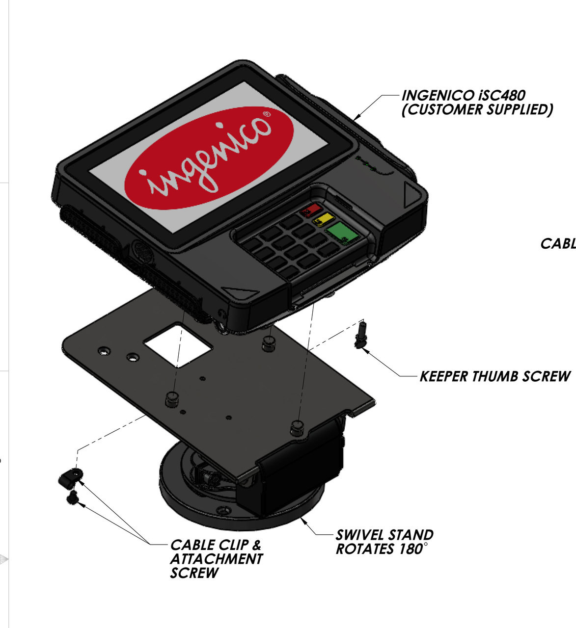 Swivel Stands Credit Card Stand Low Profile Ingenico iSC480