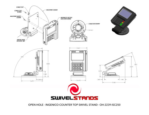 Swivel Stands POS Stand Open Hole Flip Up Ingenico iSC250