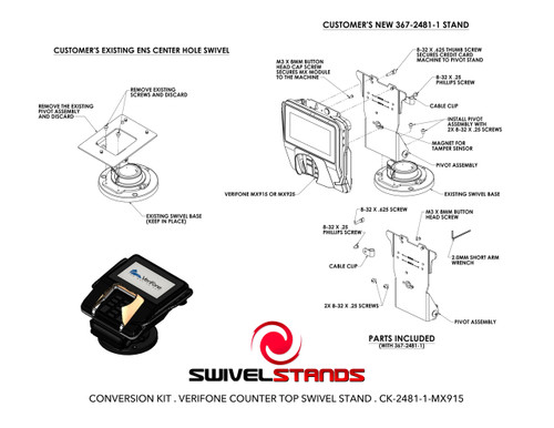 Swivel Stands CONVERSION KIT LOW CONTOUR STAND FOR MOUNTING VERIFONE MX915 MX925 ONTO EXISTING CENTER HOLE SWIVEL STAND