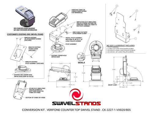 Swivel Stands Conversion Kit Adapter Plate Verifone VX810 to VeriFone VX820 VX805