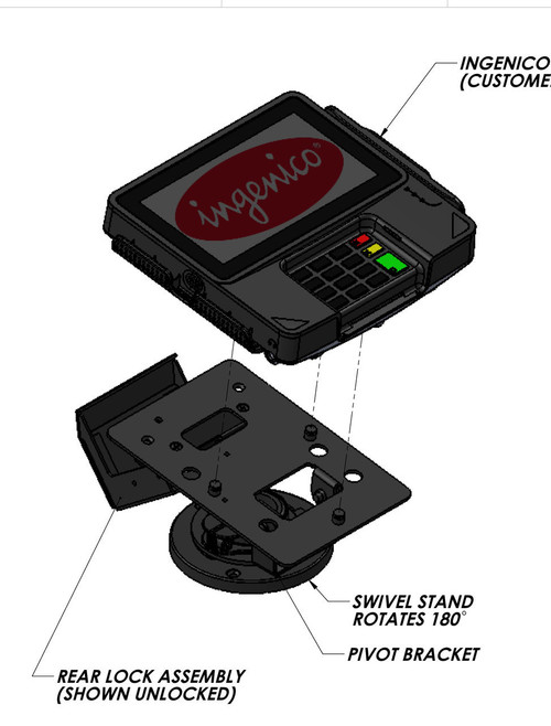 Swivel Stands Credit Card Stand Locking Low Profile Ingenico iSC250
