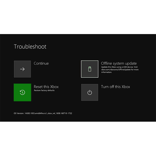 Xbox ONE Factory Reset Screen
