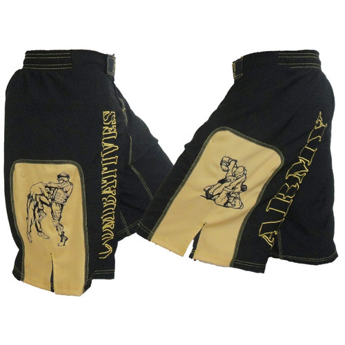 Combatives Fight Shorts with Gold Panels