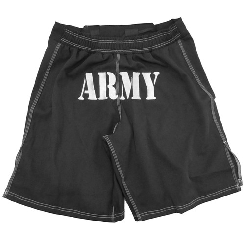 MACP Army Combatives Fight Shorts in Black and Silver - Back View