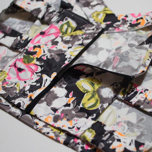 The Vratim Side Straps Crop Top - Black Floral detail