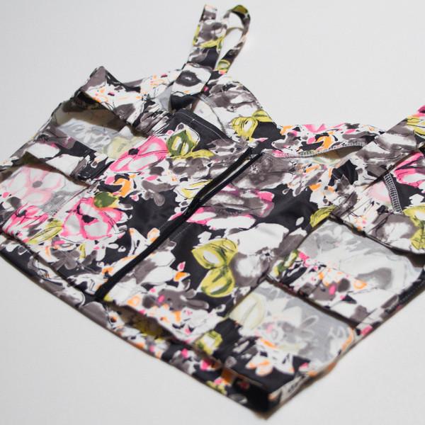The Vratim Side Straps Crop Top - Black Floral back