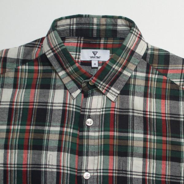 The Vratim Slim Flannel - Green detail