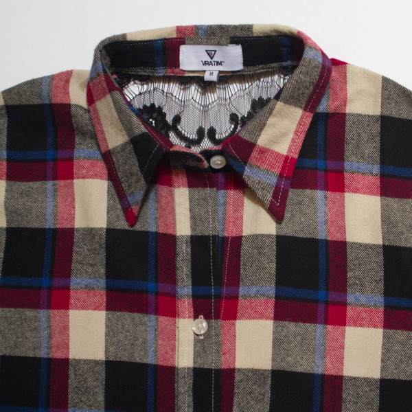 The Brooke Flannel - Red front detail