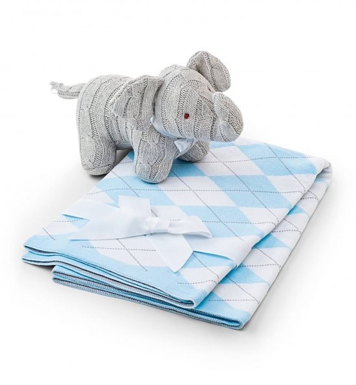 Soft elephant and argyle baby blanket set twanas creation make nap time blissful for every new baby with this plush cable knit elephant and negle Images
