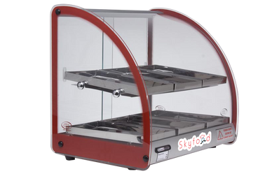 SKYFOOD 18'' FOOD WARMER DISPLAY CASE - DOUBLE SHELF - RED