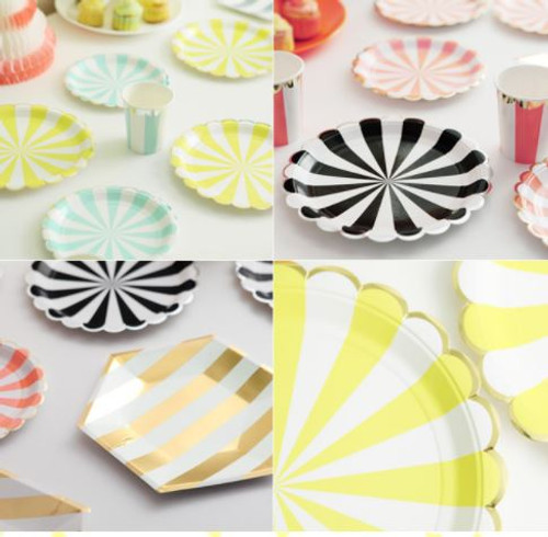 Party Stripe Paper Cup Plate Set (with foil trim for 8 person)
