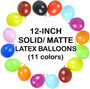 12 Inch Solid Matte Latex Balloons (5 ct) - 11 colors